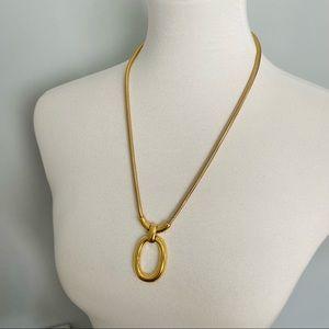 Vintage Monet Gold Color Oval Pendant Necklace